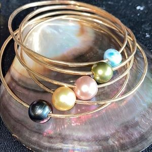 Tahitian Pearl Rainbow Bangle set